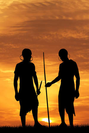 masai: Indigenous men at sunset Stock Photo