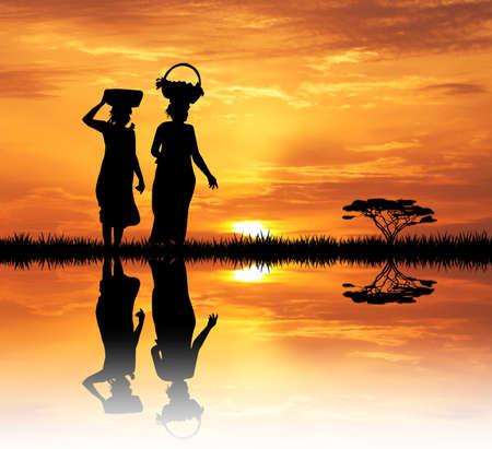 masai: African women at sunset