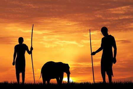 Indigenous men at sunset photo