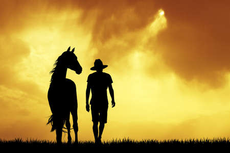 man with horse photo