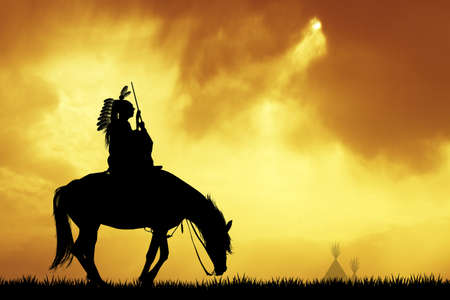 sioux: Crazy horse at sunset