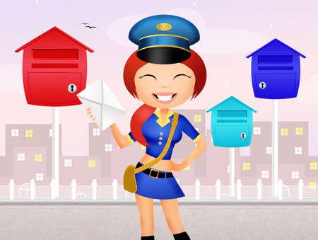 girl postman delivering letter photo