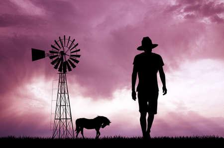 farmland: man in the farmland Stock Photo