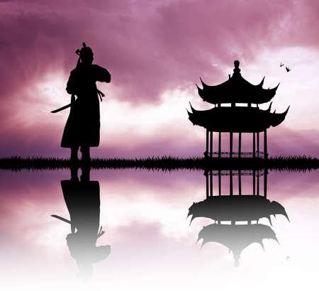 longsword: Samurai at sunset Stock Photo