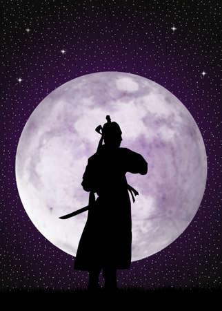 longsword: Samurai in the moonlight Stock Photo
