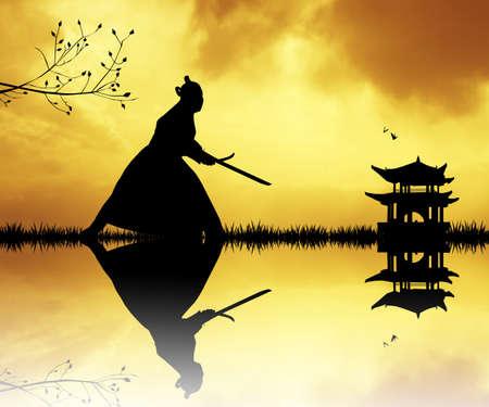Samurai silhouet bij zonsondergang Stockfoto