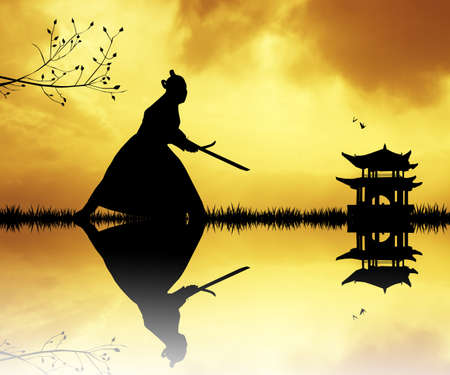 longsword: Samurai silhouette at sunset