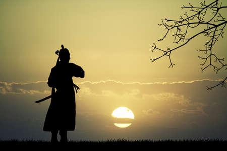 bushido: Samurai silhouette at sunset