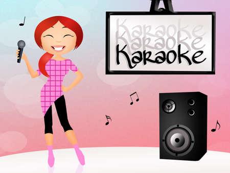 girl singing karaoke photo