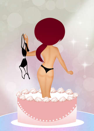 girls night out: girl surprise in the cake Stock Photo