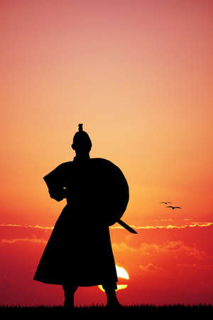 longsword: Samurai with sword at sunset Stock Photo