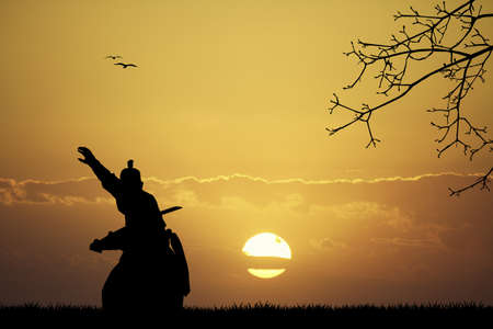 warrior sword: Samurai at sunset Stock Photo