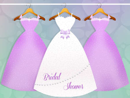 wedding dress and bridesmaids dresses photo