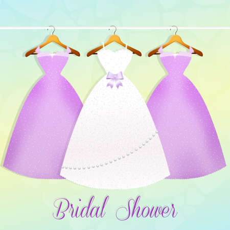 wedding dress and bridesmaids dresses photo