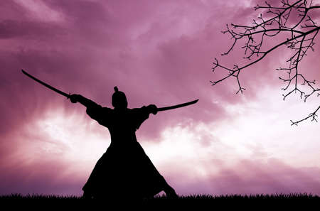 hombre: Samurai silueta Foto de archivo