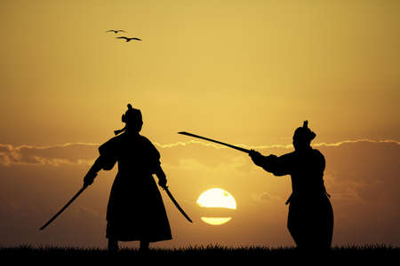 asian art: Samurai silhouette
