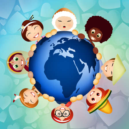 ni�os de diferentes razas: solidaridad de grupo