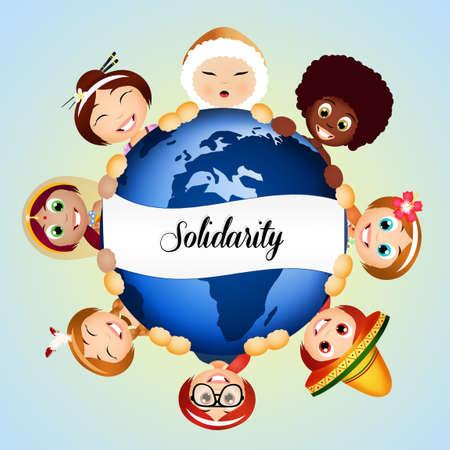ni�os de diferentes razas: Solidaridad Foto de archivo