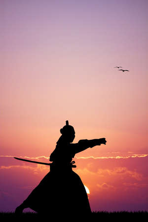 longsword: Samurai with sword at sunset Stock Photo