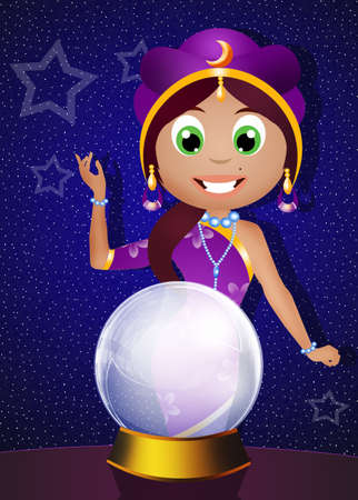 fortune teller: fortune teller with crystal ball