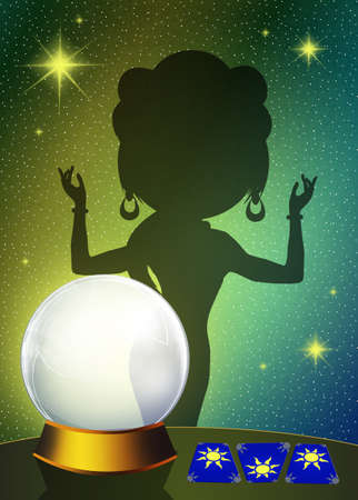 Fortune teller with crystal ball Stock Photo