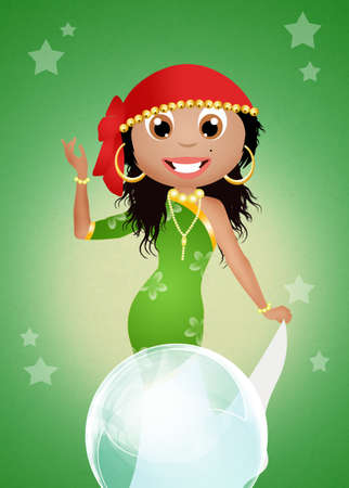 Gypsy with crystal ball photo