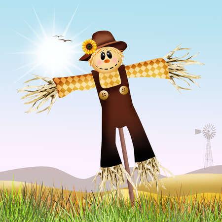 woman gardening: scarecrow