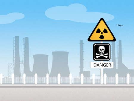 barrel radioactive waste: radiation hazard Stock Photo