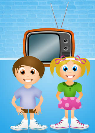 s video: children in front of the television Stock Photo