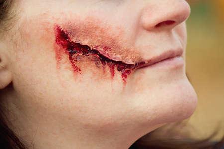 Cutting horror makeup photo