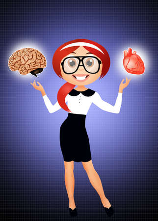 woman with brain and heart photo