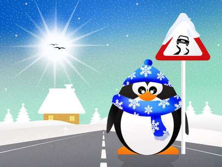 snow tires: penguin with slippery road sign