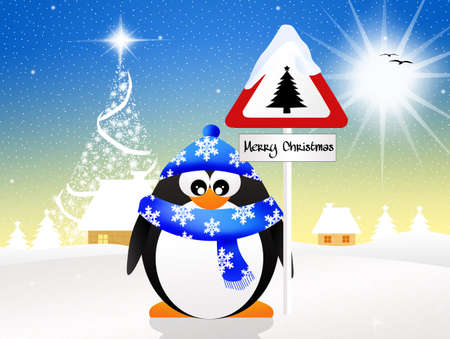 prudence: penguin with Christmas sign