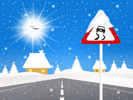 snow tires: slippery road sign