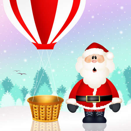 Santa Claus on a hot air balloon photo