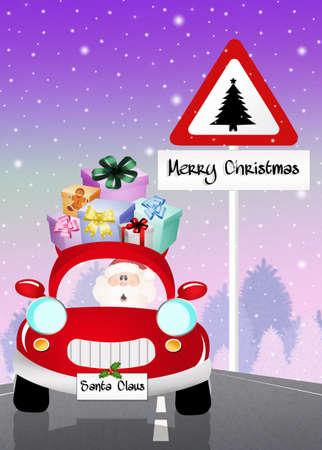 Santa Claus on car photo