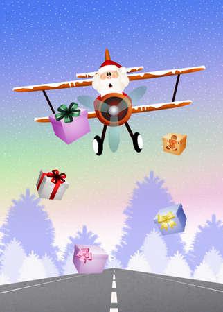 Santa Claus on airplane photo