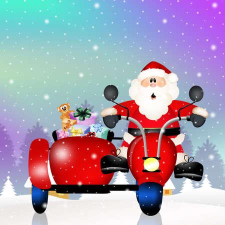 sidecar: Santa Claus on sidecar