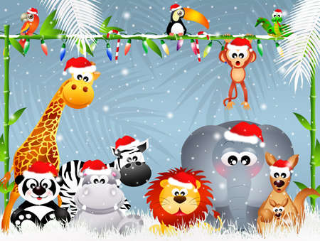 cartoon zoo: wild animals at Christmas