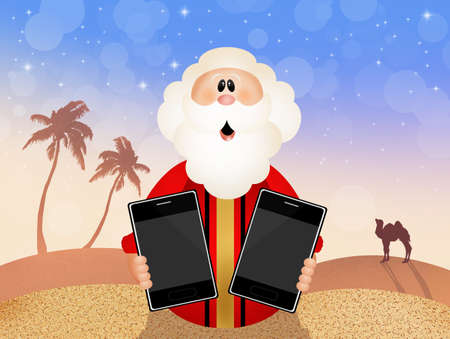 bible ten commandments: Moses with ipad Stock Photo