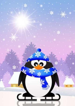 penguin skating on ice photo