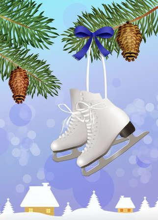 ski pass: ice skates in winter