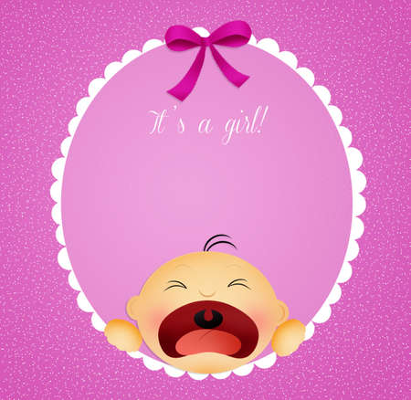 unborn: baby girl announcement postcard Stock Photo
