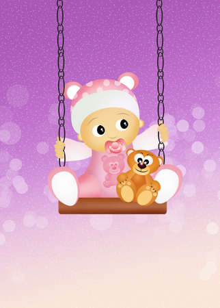unborn: baby female on swing Stock Photo