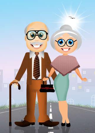 paternity: elderly couple Stock Photo