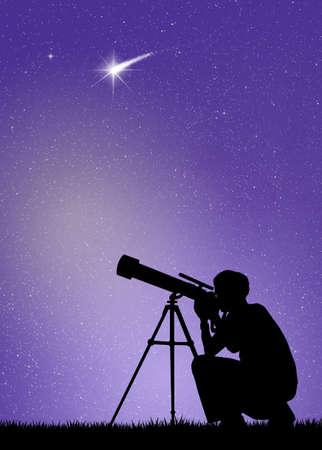 Man looks in the telescope photo
