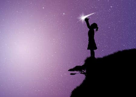 meisje met komeet Stockfoto