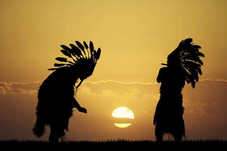 redskin: Indian at sunset