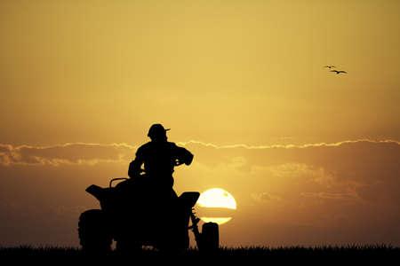 quad: man on the quad at sunset