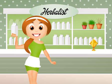 herboristeria: dibujos animados herbolario